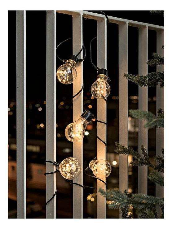 Konstsmide Biergarten Lichterkette 50 LED bernstein in 5 Birnen klar 2 m schwarz - Pic 1