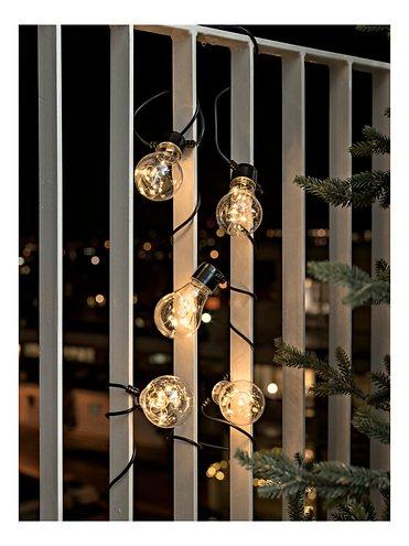 Konstsmide Biergarten Lichterkette 50 LED bernstein in 5 Birnen klar 2 m schwarz