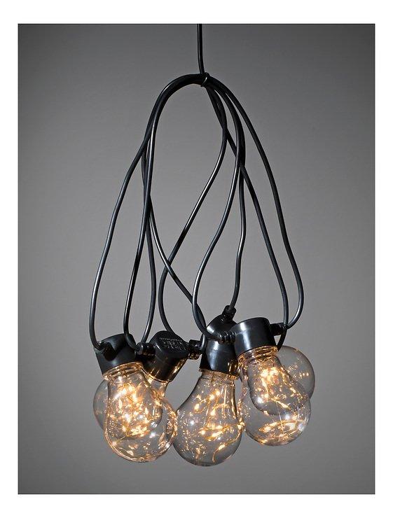 Konstsmide Biergarten Lichterkette 50 LED bernstein in 5 Birnen klar 2 m schwarz - Pic 2
