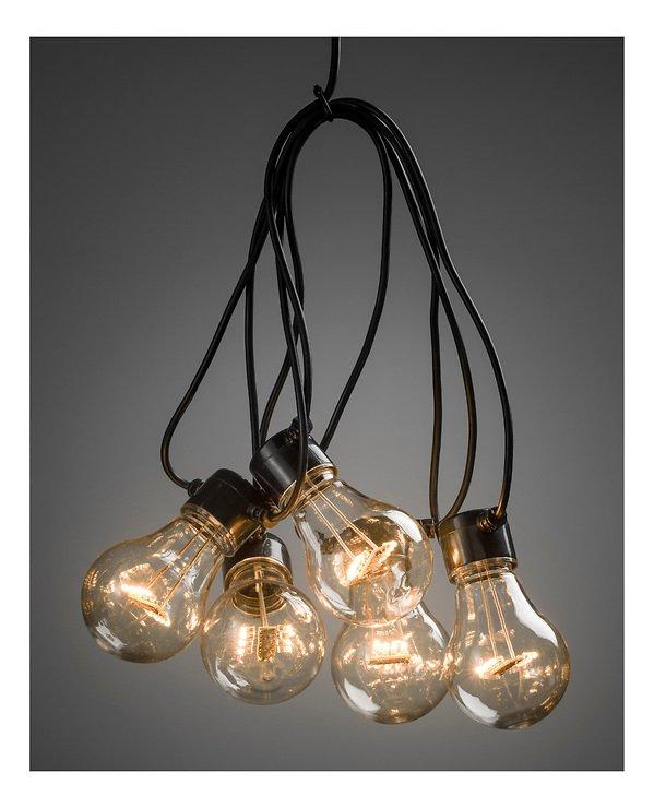 Konstsmide Biergarten Lichterkette 50 LED warmweiß in 5 Birnen klar 2 m schwarz - Pic 1