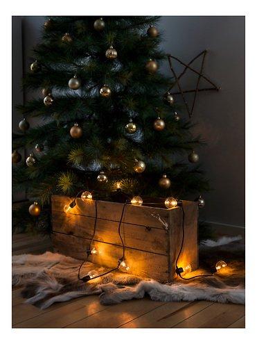 Konstsmide Biergarten Lichterkette 20 LED bernstein in 10 Birnen klar 2,25 m schwarz