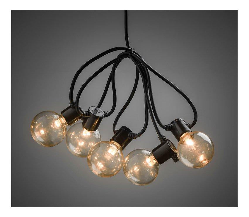 Konstsmide Biergarten Lichterkette 20 LED bernstein in 10 Birnen klar 2,25 m schwarz - Pic 2