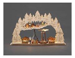 Konstsmide Leuchtdekoration Holz Weihnachtsmarkt 17 LED Batterie 59 x 37 cm innen