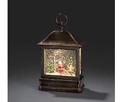 Konstsmide LED Schneelaterne Weihnachtsmann 1 LED Batterie / Trafo 25 cm innen