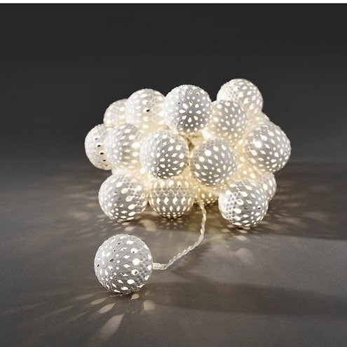 Konstsmide LED Lichterkette Metallbälle weiß 2,99 m 24 LED warmweiß ...