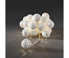 Konstsmide LED Lichterkette Metallbälle weiß 2,99 m 24 LED warmweiß innen transparent