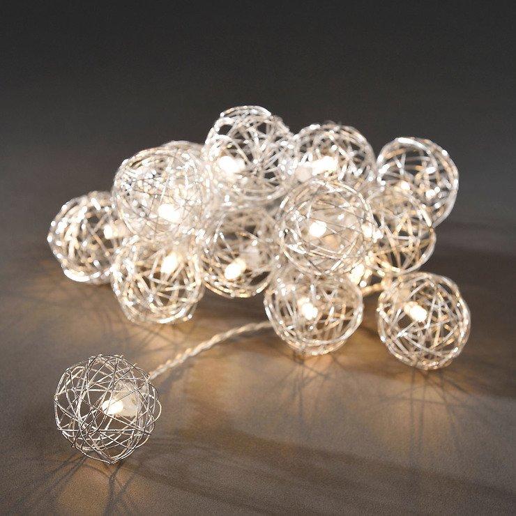 Konstsmide LED Lichterkette Drahtkugeln 2,25m 16 LED warmweiß innen ...
