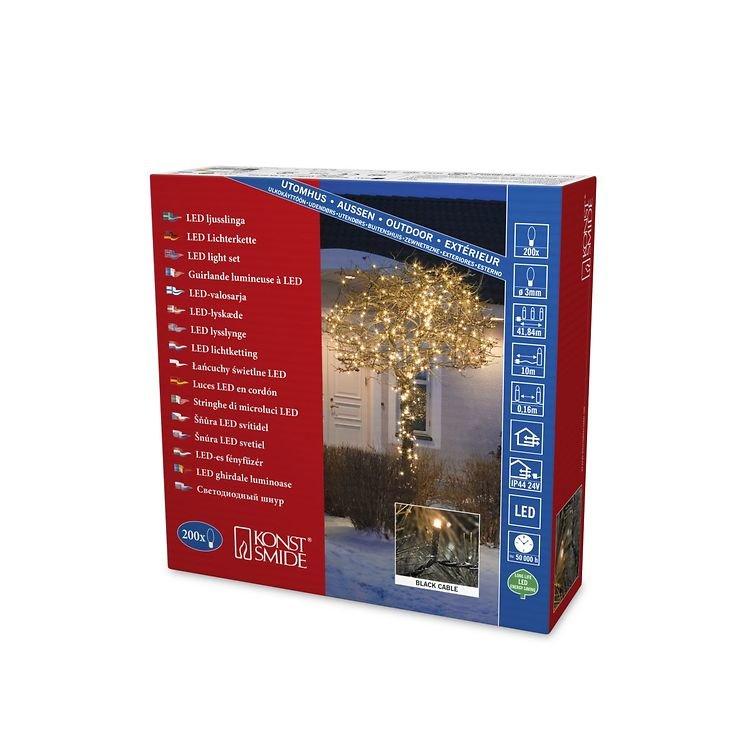 Konstsmide LED Lichterkette 200 LED bernsteinfarben außen 31,84m schwarz - Pic 3