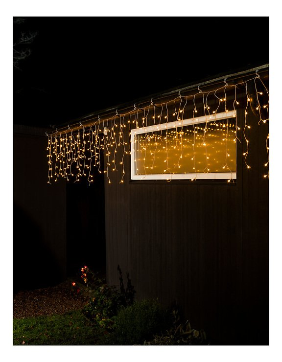 Konstsmide Lichtervorhang Eisregen 200 LED bernstein 5m außen transparent - Pic 2