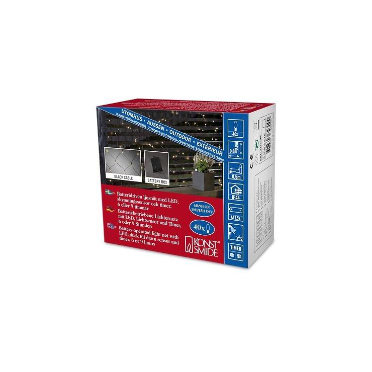Konstsmide LED Lichternetz 80 x 80cm 40 LED batteriebetrieben außen schwarz - Pic 4