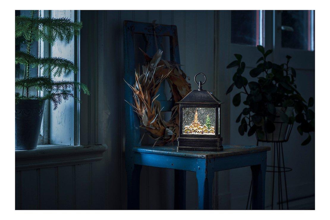 Konstsmide LED Schneelaterne Weihnachtsmarkt 1 LED Batterie / Trafo 25 cm innen - Pic 1