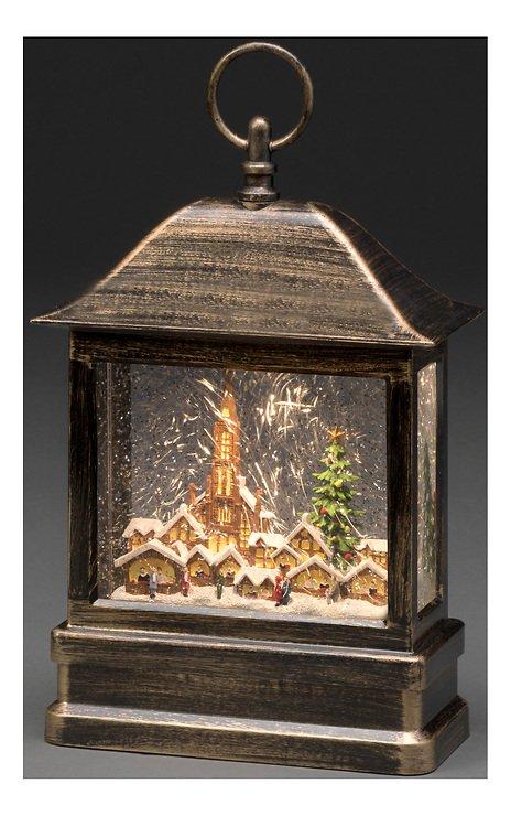 Konstsmide LED Schneelaterne Weihnachtsmarkt 1 LED Batterie / Trafo 25 cm innen - Pic 2