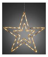 Konstsmide Leuchtstern Acryl 48 LED warmweiß 58cm Timer außen transparent