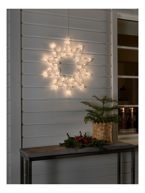Konstsmide Leuchtstern Acryl 48 LED warmweiß 58cm Timer außen transparent - Pic 2