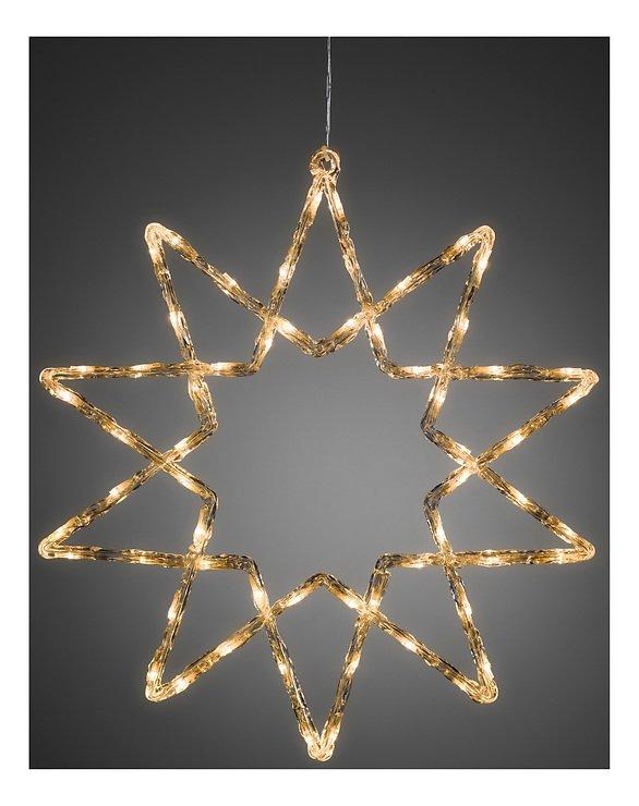Konstsmide Leuchtstern Acryl 48 LED warmweiß 58cm Timer außen transparent - Pic 1