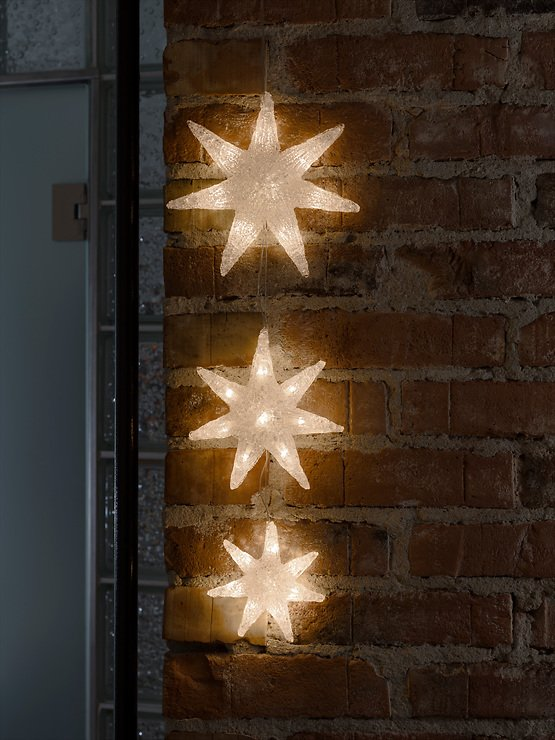 Konstsmide Leuchtdekoration 3 Sterne Acryl 24 LED 60cm innen transparent - Pic 2