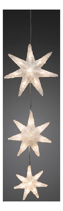 Konstsmide Leuchtdekoration 3 Sterne Acryl 24 LED 60cm innen transparent - Pic 1