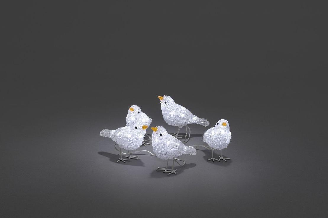 Konstsmide LED Vögel 5er Set 40 LED kaltweiß außen Acryl transparent - Pic 1