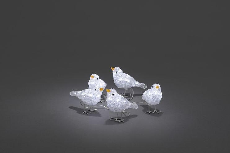 Konstsmide LED Vögel 5er Set 40 LED kaltweiß außen Acryl transparent