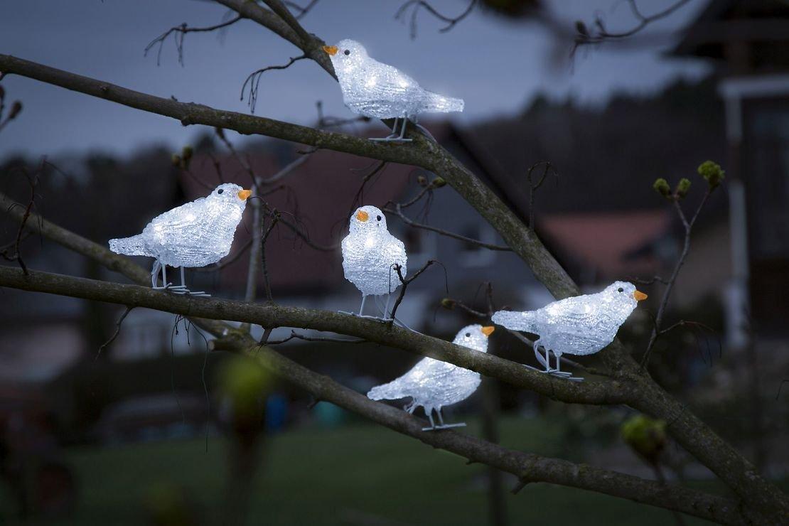 Konstsmide LED Vögel 5er Set 40 LED kaltweiß außen Acryl transparent - Pic 3