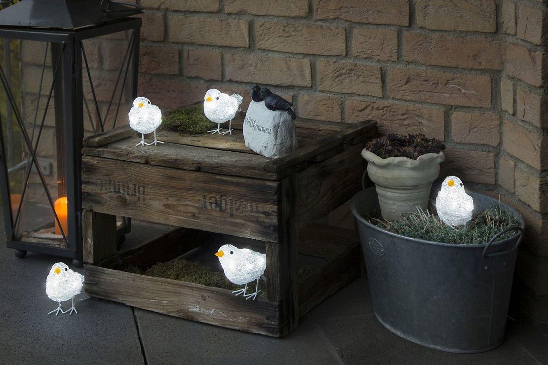 Konstsmide LED Vögel 5er Set 40 LED kaltweiß außen Acryl transparent - Pic 2