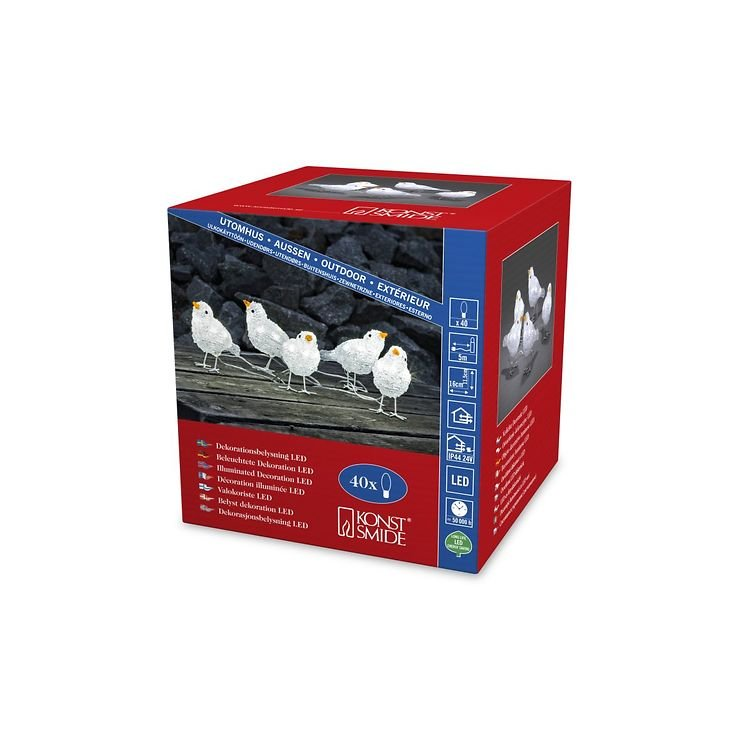 Konstsmide LED Vögel 5er Set 40 LED kaltweiß außen Acryl transparent - Pic 4