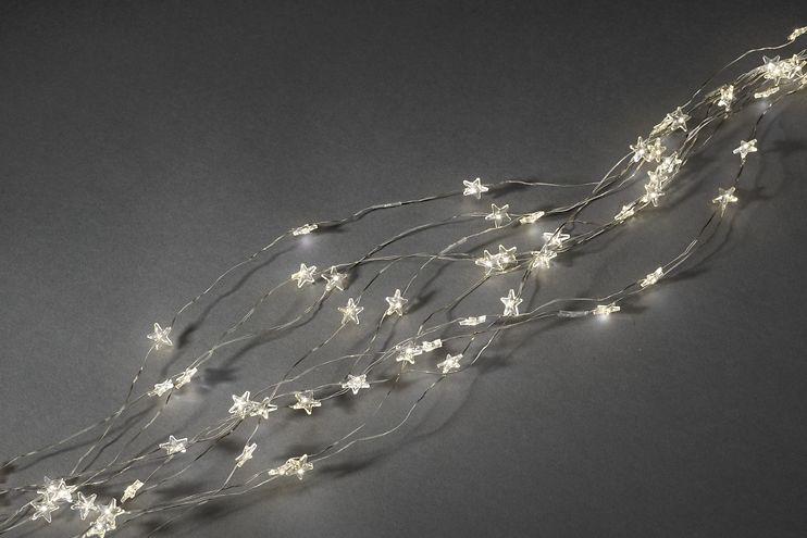 Konstsmide LED Lichterkette Sternenlametta 200 LED warmweiß innen 2m silber