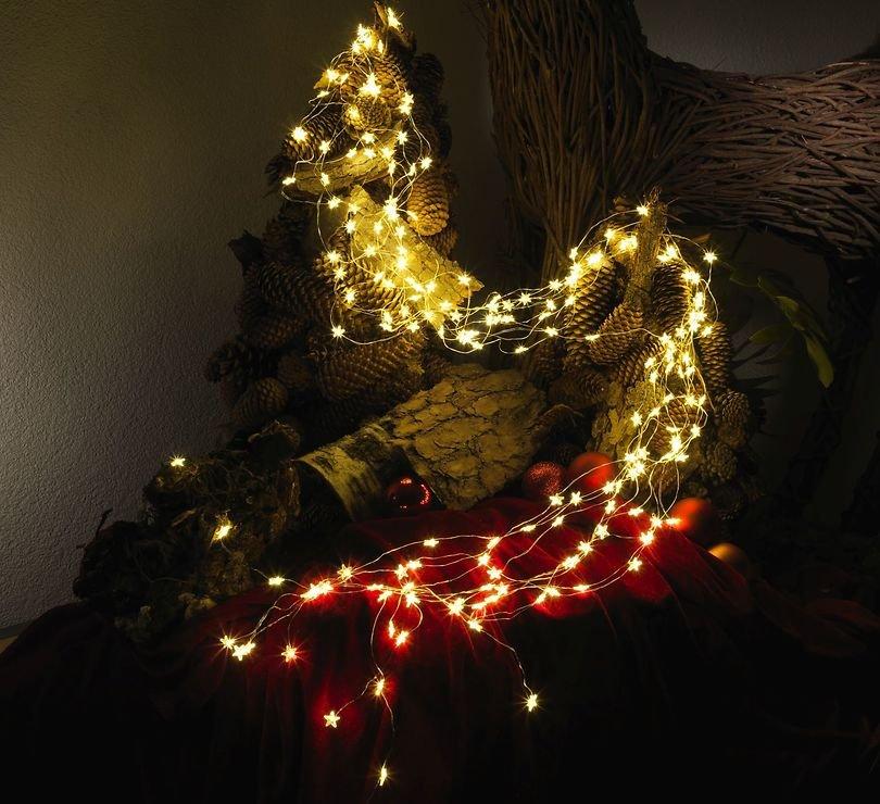 Konstsmide LED Lichterkette Sternenlametta 200 LED warmweiß innen 2m silber - Pic 4