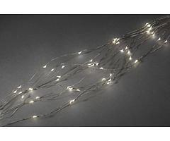 Konstsmide LED Lichterkette Tropfenlametta 90 LED warmweiß innen 90cm silber