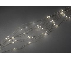 Konstsmide LED Lichterkette Tropfenlametta 200 LED warmweiß innen 2m silber
