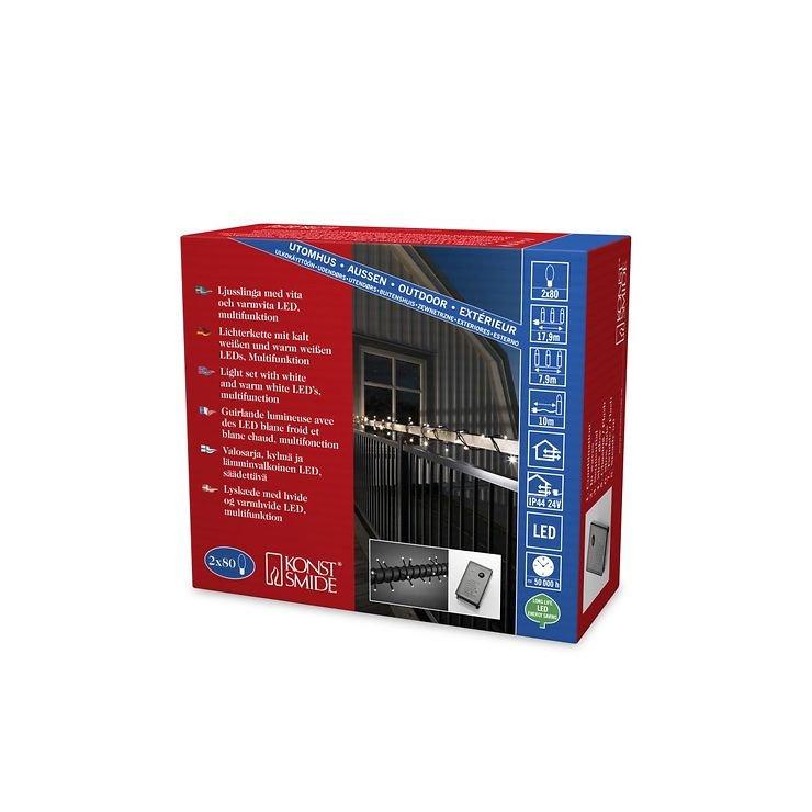 konstsmide led lichterkette 160 led warmwei und kaltwei au en 7 9m schwarz kaufen. Black Bedroom Furniture Sets. Home Design Ideas