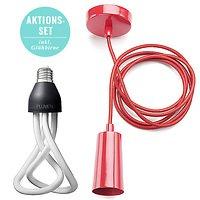 Plumen Energiesparlampe mit Deckenbefestigung rot