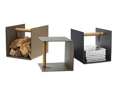 LINDDNA Aufbewahrungsbox Container Leder/Aluminium hellgrau