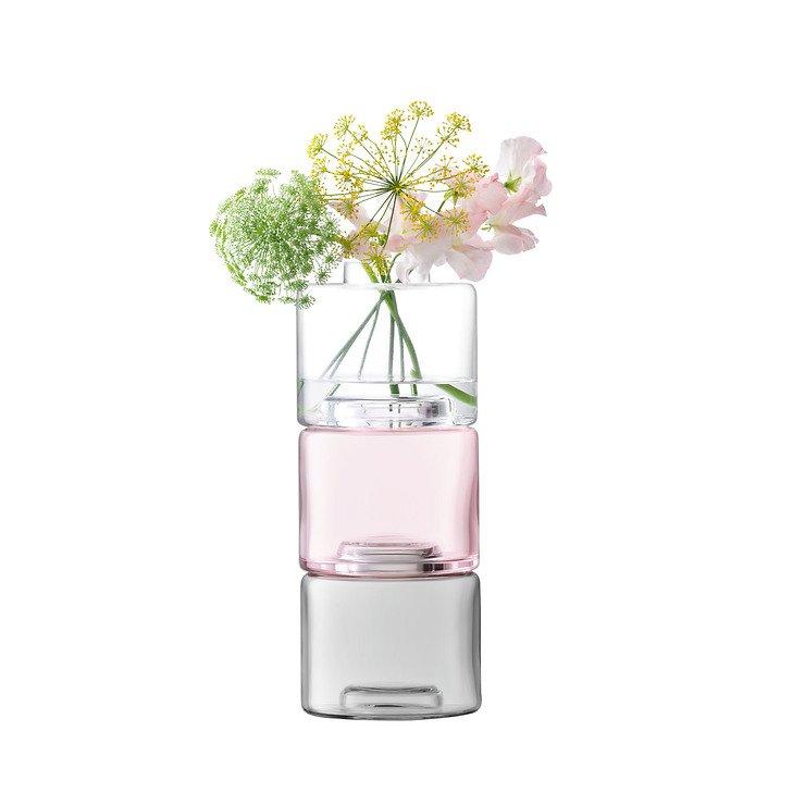 LSA Vase Stack Trio 30 cm Glas klar pink grey - Pic 2