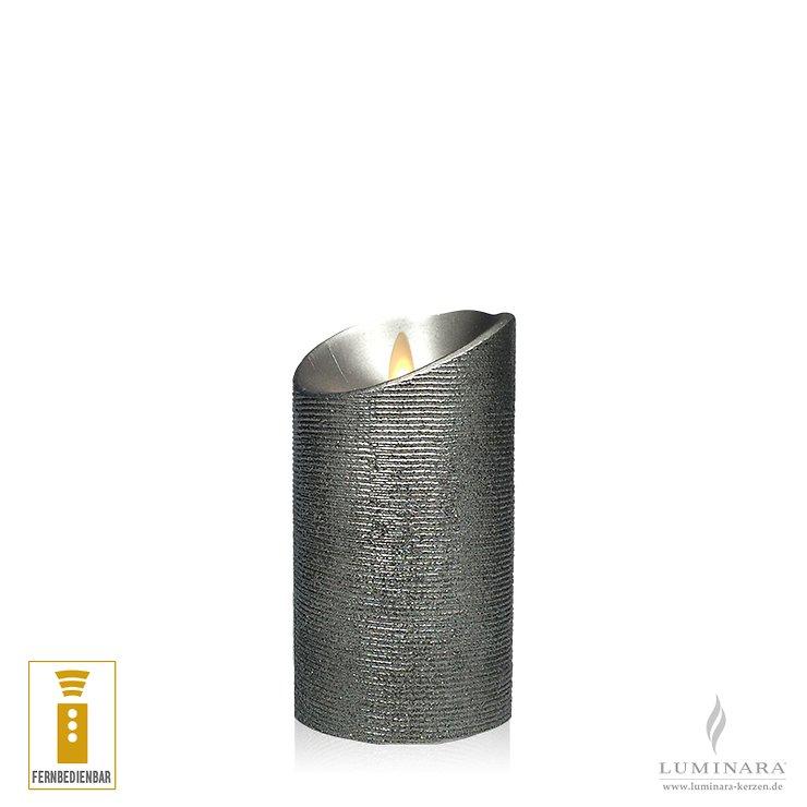 Luminara LED Kerze 8 x 13 cm silber fernbedienbar - Pic 1