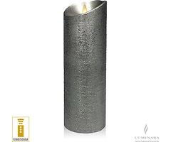 Luminara LED Kerze 8 x 23 cm silber fernbedienbar
