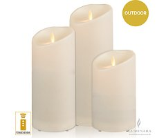 Luminara LED Kerzen Outdoor 3er Set elfenbein fernbedienbar