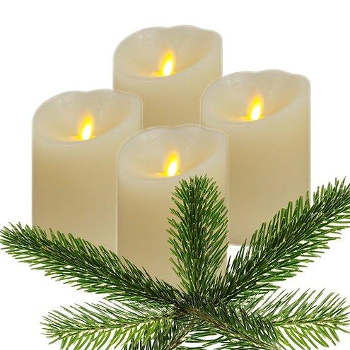 Luminara LED Kerze Echtwachs 8x11 cm elfenbein glatt 4er Set AKTION