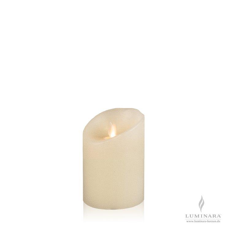Luminara LED Kerze Echtwachs 8x11 cm elfenbein struktur 4er Set AKTION - Pic 2