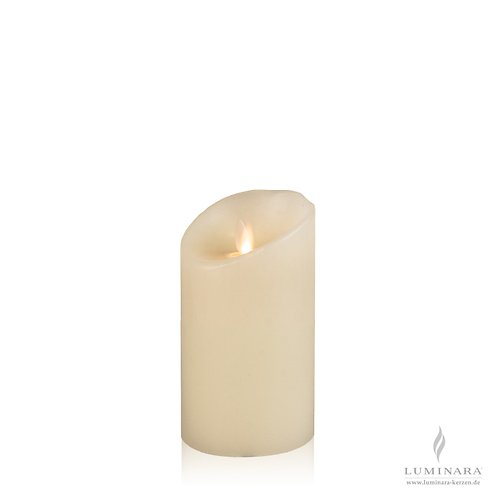 Luminara LED Kerze Echtwachs 8x13 cm elfenbein glatt AKTION