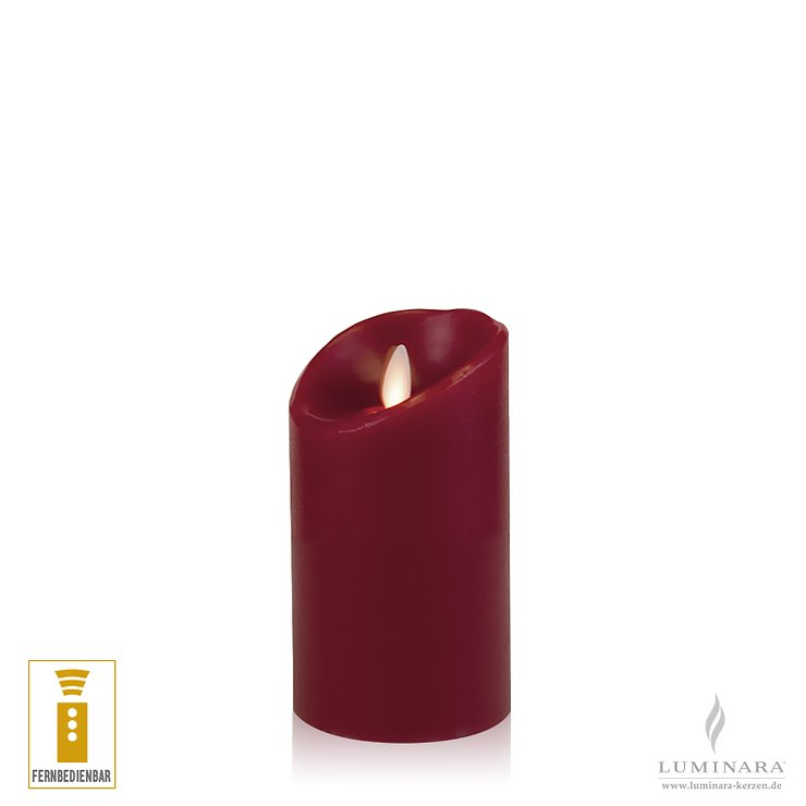 Luminara LED Kerze Echtwachs 8x13 cm bordeaux fernbedienbar glatt AKTION - Pic 1