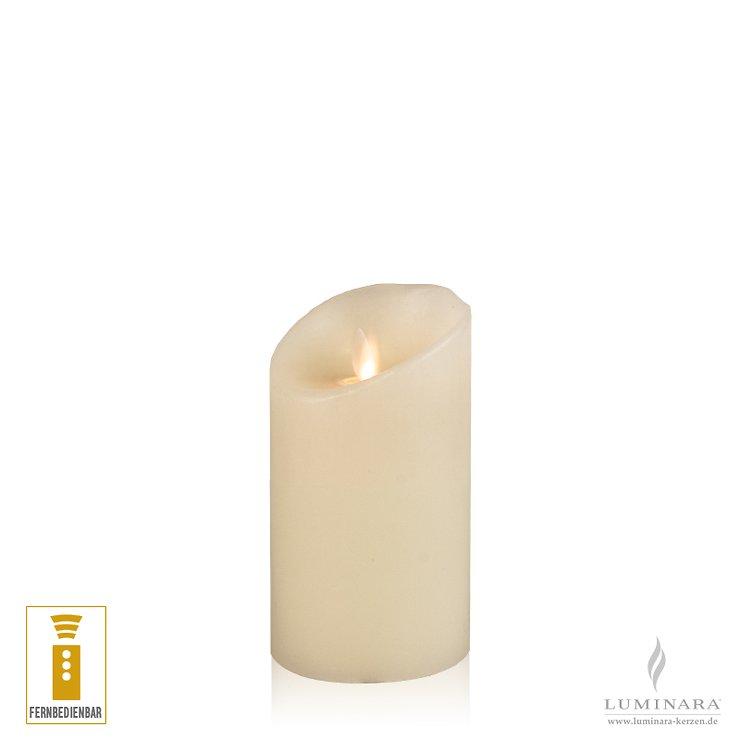 Luminara LED Kerze Echtwachs 8x13 cm elfenbein fernbedienbar glatt NEU - Pic 1