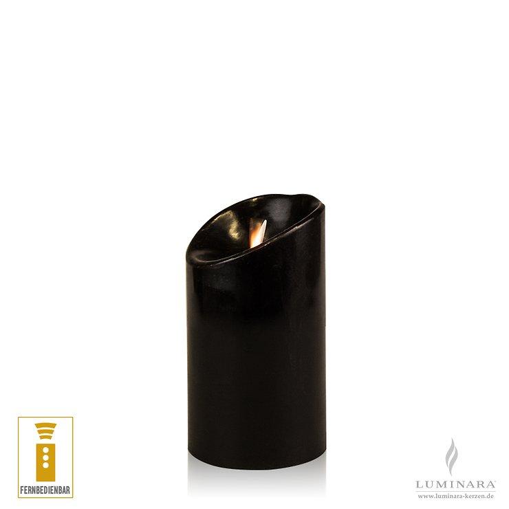 Luminara LED Kerze Echtwachs 8x13 cm schwarz fernbedienbar glatt AKTION - Pic 1