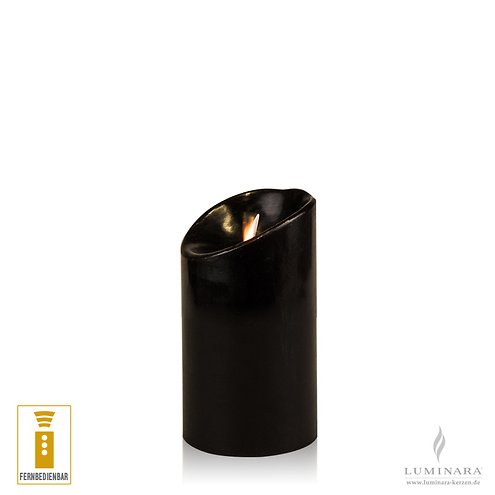 Luminara LED Kerze Echtwachs 8x13 cm schwarz fernbedienbar glatt AKTION