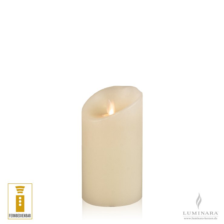 Luminara LED Kerze Echtwachs 8x13 cm elfenbein fernbedienbar glatt AKTION - Pic 1