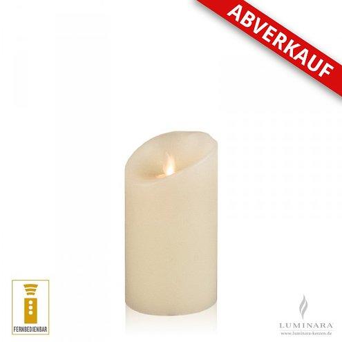 Luminara LED Kerze Echtwachs 8x13 cm elfenbein fernbedienbar Struktur