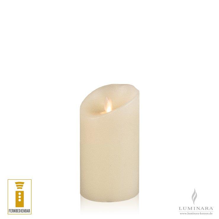 Luminara LED Kerze Echtwachs 8x13 cm elfenbein fernbedienbar Struktur - Pic 2