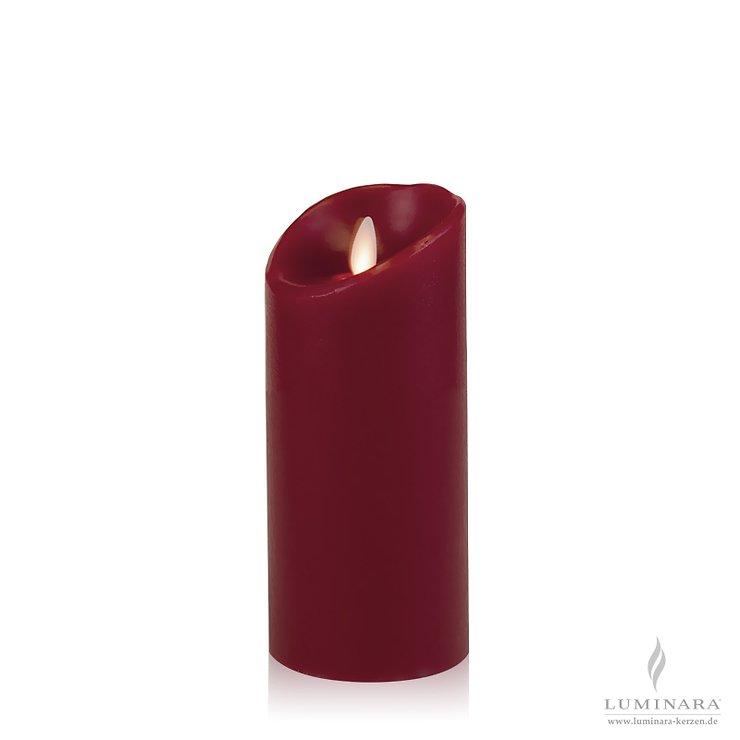Luminara LED Kerze Echtwachs 8x18 cm bordeaux glatt AKTION - Pic 1