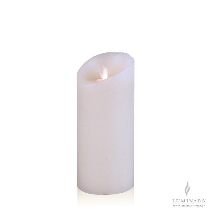 Luminara LED Kerze Echtwachs 8x18 cm weiß glatt AKTION - Pic 1
