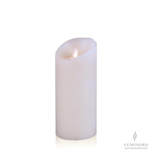 Luminara LED Kerze Echtwachs 8x18 cm weiß glatt AKTION